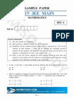 JEE Main 2019 Mathematics Sample Question Paper