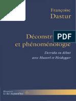 Dastur, Fran+žoise - D+ęconstruction et ph+ęnom+ęnologie