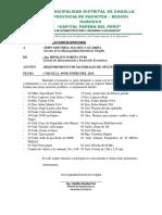 INFORME Nº 4 Requerimientos de Materiales de Oficina