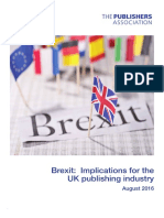 Brexit - Implications for UK Publishing Industry August 2016