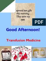 Transfusion Medicine Part I Students
