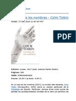 Devoradora de Libros -- La Casa de Los Nombres - Colm Tóibín