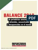 Balance Anual de Reporteros Sin Fronteras (RSF) 2018.