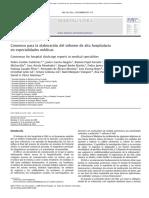 Consenso para la elaboración del alta hospitalaria en especialidades médicas.