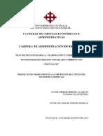 PLAN DE NEGOCIOS PARA LA ELABORACIÓN Y COMERCIALIZACIÓN DE CHOCOBANANO (BANANO CONGELADO CUBIERTO CON CHOCOLATE