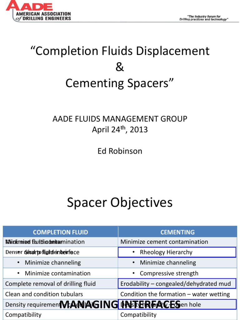 Completion Fluids Displacement and Cementing Spacers | Liquids