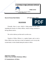Communiqué du commissaire de police