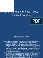 Theory of Cost and Break Even Analysis