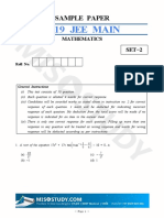 JEE Main 2019 Mathematics Sample Question Paper II