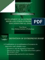EshipEdforEng - DEVELOPMENT OF AN ENTREPRENEURSHIP MINOR AND OTHER ENTREPRENEURSHIP EDUCATION FOR ALL ENGINEERS