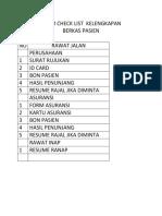 Form Check List Kelengkapan Penagihan