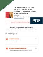 """Notas de """" Del Renacimiento a La Edad Moderna (Historia de Las Mujeres 3), Del Renacimiento a La Edad Moderna """""""