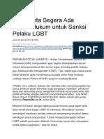 ICMI Minta Segera ada Aturan Hukum untuk Sanksi LGBT