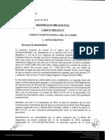 sentencia constitucional Ecuador términos de impugnación