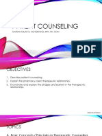 Basic Concepts and Principles in Therapeutic Counseling