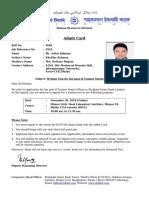 ShahjalalBank Admit RollNo 4685 JobReffNo 5919