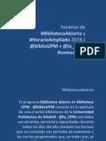 Horarios especiales Biblioteca UPM 2019