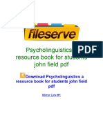 Psycholinguistics a Resource Book for Students John Field PDF