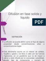 Difusividad en Fase Liquida y Solida