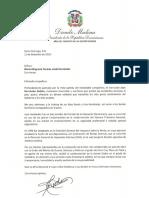Carta de condolencias del presidente Danilo Medina a María Altagracia Tavárez viuda Hernández por fallecimiento de su esposo, Juan Hernández Batista