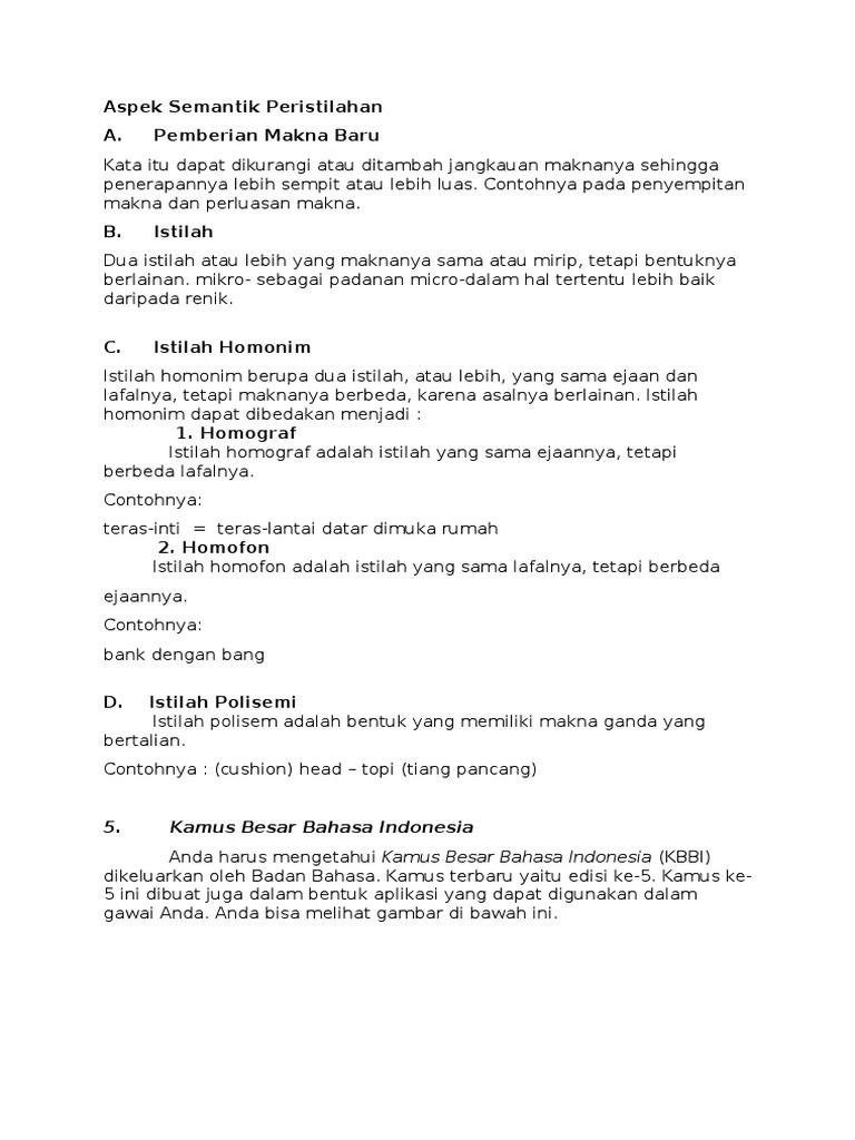 B Indonesia Aspek Semantik Peristilahan
