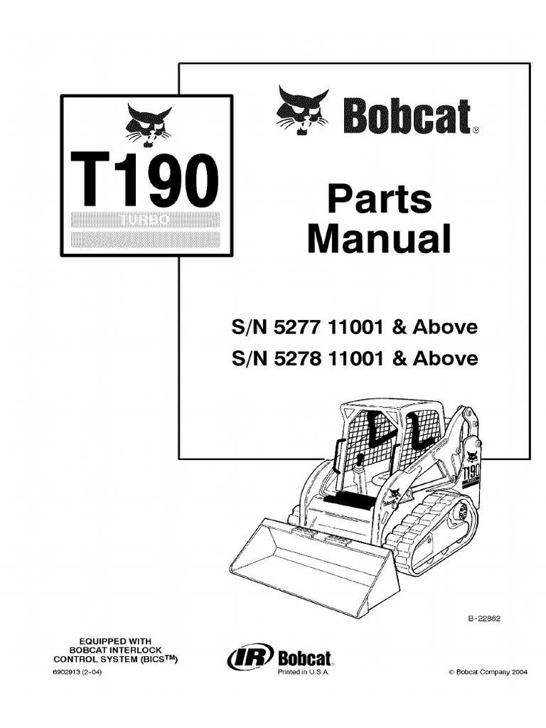 Bobcat T190 Compact Track Loader Parts Catalogue Manual SN