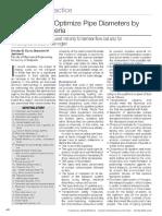 A Shortcut to Optimize Pipe Diameters by Economic Criteria