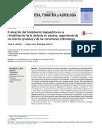 Evaluación Del Tratamiento Logopédico en La Rehabilitación de La Disfonía en Adultos. Seguimiento de Los Efectos Grupales y de Las Variaciones Individuales