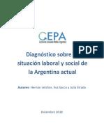 Diagnostico Sobre La Situacion Social y Laboral de La Argentina Actual CEPA Diciembre de 2018