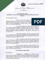 Decreto Supremo 3747 - Segundo aguinaldo 2018 Bolivia