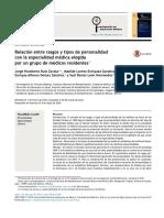 Relación Entre Rasgos y Tipos de Personalidad Con La Especialidad Médica Elegida Por Un Grupo de Médicos Residentes