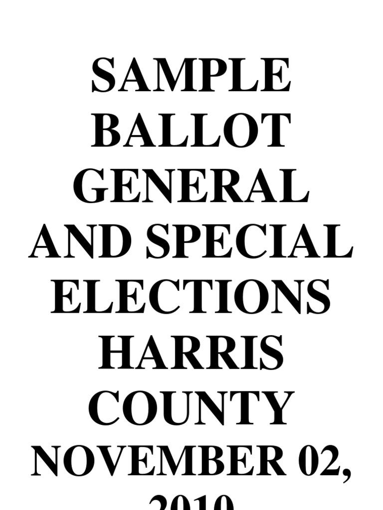 Sample Ballot, November 2010, Harris County Texas
