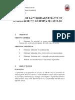 Infome Medición de La Porosidad Mediante Un Análisis Directo de Rutina Del Núcleo