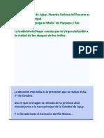 Historia de La VIrgen de RIo Blanco y Paypaya Jujuy