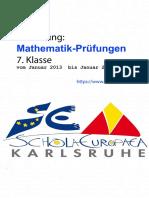 Matheprüfung Klasse7, 2013-2018