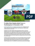 Prediksi Bola Huddersfield Town vs Southampton 22 Desember 2018