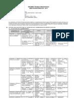 Informe Técnico Pedagógico Del Área de Matemática