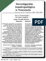 La Investigación Socioantropologica en Venzeual