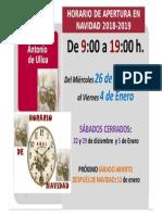Horario en Navidad 2018 - CRAI Antonio de Ulloa