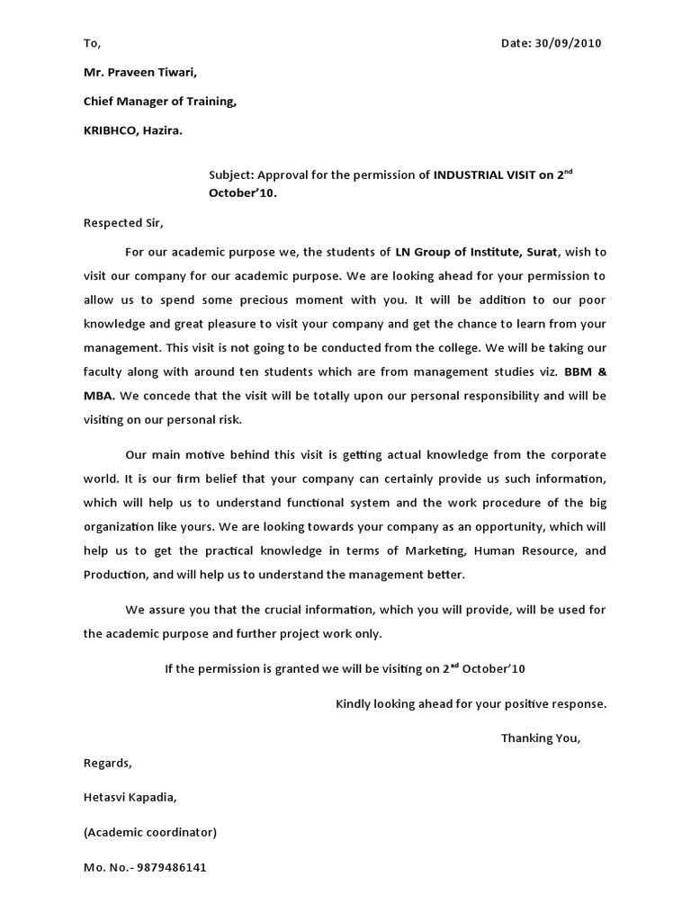 Permission Letter Industrial Visit