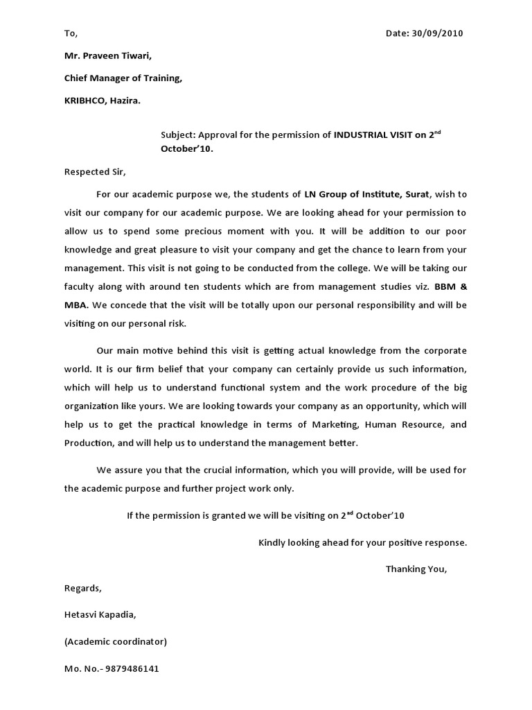 Letter for industrial visit 1534207907v1 spiritdancerdesigns Image collections
