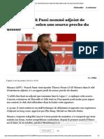 Monaco- Franck Passi nommé adjoint de Thierry Henri