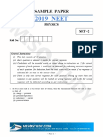 NEET 2019 Physics Sample Question Paper II