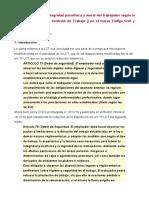 La protección de la integridad psicofísica y moral del trabajador según la reforma de la Ley de Contrato de Trabajo y en el nuevo Código Civil y Comercial .doc