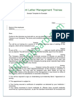 Appointment Letter Management Trainee