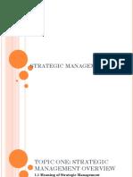Topic One Strategic Management Bba