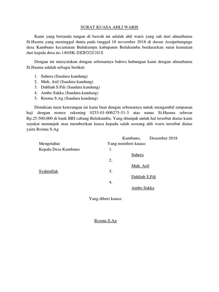 Contoh Surat Keterangan Ahli Waris Untuk Bank Bri ...