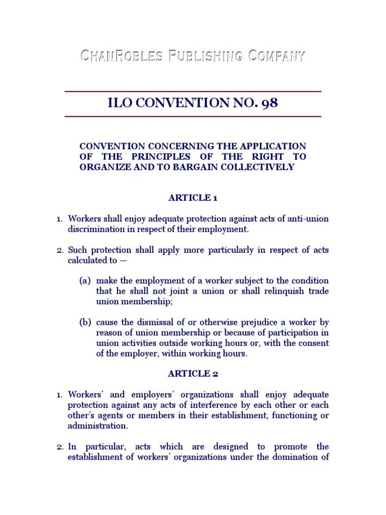 ILO CONVENTION NO  98 pdf | International Labour
