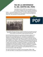 Historia de La Universidad Nacional Del Centro Del Perú
