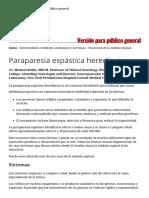 Paraparesia Espástica Hereditaria - Enfermedades Cerebrales, Medulares y Nerviosas - Manual MSD Versión Para Público General